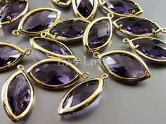 [SATURN]  Purple amethyst marquise glass pendants gold bezel set by EverLuxe