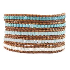 Chan Luu - Aqua Mix Wrap Bracelet on Natural Brown Leather, $200.00 (http://www.chanluu.com/wrap-bracelets/aqua-mix-wrap-bracelet-on-natural-brown-leather/)