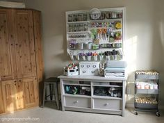When using pegboard, the actual board is just the beginning. Adding shelves, buckets and baskets gives your design one-of-a-kind style for your one-of-a-kind crafts. Blogger Ginger Bowie of Ginger Snap Crafts framed her DIY craft wall with trim for a more sophisticated look.