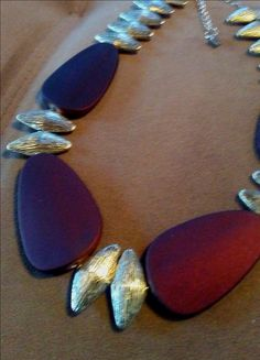 One of a Kind Geometric Brwon and Silver statement necklace #1554 by LoisWagnerOriginals on Etsy
