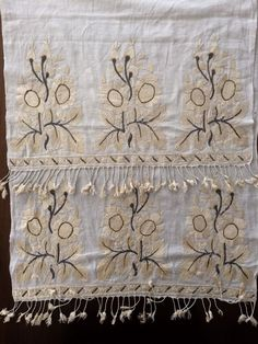 """19TH C ANTIQUE OTTOMAN-TURKISH SILK & METALLIC HAND EMBROIDERY ON LINEN - $299.00. You are viewing an attractive example of embroidery. I'm offering a lovely """"yaglık'' Origin: Turkey Example from the:19th cColourway of the fabric : ecru It is a hand loomed thiny linen fabric.The hand embroidery is on both ends, silk and silver-gilt tinsel on thin linen;The embroidery technique counted stitches neat and worked reversible,not distinguishing between front and back; height of..."""