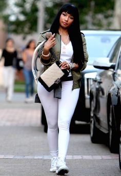 3 Nicki Minaj's Saint Laurent Olive Green Bomber Jacket and Air Jordan Retro Sneakers