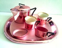 Mid Century Coffee Set Made in Germany. Pink Metal. 1930s Art Deco on Etsy, $69.63