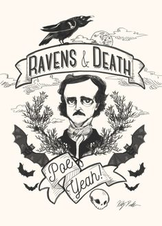 Edgar Allan Poe gothic Halloween illustration by