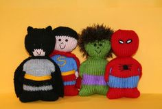 Chubbies Super Heroes (superheroes) Knitting pattern by Amalia Samios Knit Or Crochet, Cute Crochet, Knitted Dolls, Crochet Dolls, Christmas Knitting Patterns, Crochet Patterns, Knitting Projects, Crochet Projects, Knitting For Charity