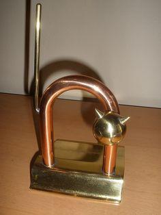 Art Deco Cat Door Stop | copper and brass | designed by Walter Von Nessen