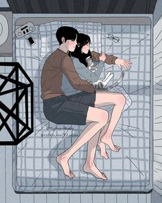 Sleeping Couple - Romance and Love Paint By Numbers - Numeral Paint Couple Amour Anime, Couple Manga, Cute Couple Art, Anime Love Couple, Cute Anime Couples, Anime Couples Cuddling, Cute Couple Comics, Cute Couple Cartoon, Paar Illustration