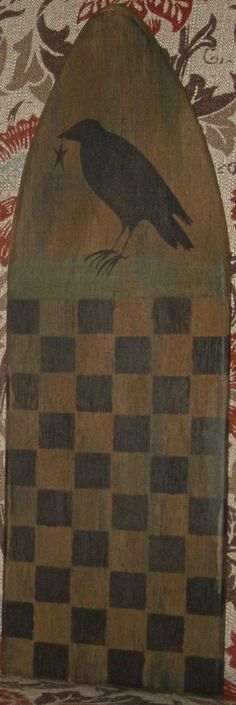 Primitive HP Folk Art Prim Crow Checkerboard Stretcher | eBay