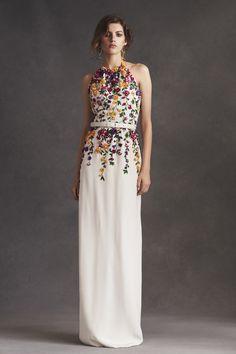 Oscar de la Renta Resort 2016 Halter Jewel Neck Threadwork Taffeta Floral Embroidered Gown - Preorder now on Moda Operandi