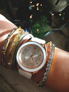 Michele watches with white accents pair perfectly with your holiday wardrobe!