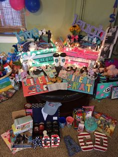 Basket Gifts : I can almost smell the glue guns: big/little season is here! If your chapter has Big Little Week, Big Little Reveal, Big Little Gifts, Little Presents, Kappa Alpha Theta, Phi Mu, Sigma Tau, Chio, Big Little Basket