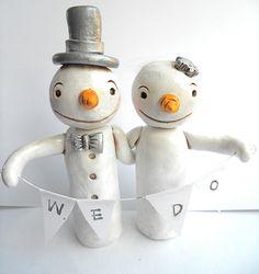 Winter Wedding Cake Topper Snowmen in Love by indigotwinweddings, $75.00