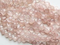 Rose Quartz Beads Rose Quartz Plain Heart by gemsforjewels on Etsy