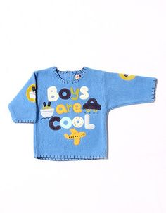 """""""Boys are cool"""" blue fleece pull over."""