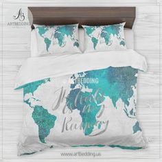 Boho world map bedding watercolor quote duvet cover set modern turquoise green and blue watercolor abstract painting world map bedding watercolor bohemian world map duvet gumiabroncs Images