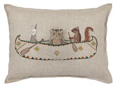 Topridge Friends Canoe Pocket Pillow from Coral & Tusk  //  Embroidery on 100% linen  //  http://www.coralandtusk.com/collections/featured-items/products/topridge-friends-canoe-pocket-pillow
