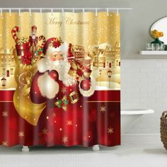 christmas shower curtain Santa Claus Fashion Waterproof Hot Sale Gift New Bath Curtain 2017 Christmas Bathroom Decor, Christmas Shower Curtains, Bathroom Shower Curtains, Fabric Shower Curtains, Bath Decor, Bath Shower, Christmas Snowflakes, Christmas Candles, Christmas Decorations