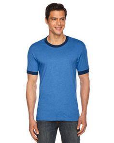 American Apparel Unisex Poly-Cotton Short-Sleeve Ringer T-Shirt BB410 HTH LKE BLUE/NVY