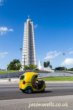 Cocotaxi in front of the Jose Marti memorial. To view the image in full size & to see my other travel images please click on the thumbnail. #cuba #cocotaxi