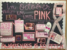 Breast Cancer Awareness (Mean Girls theme) Bulletin Board October Bulletin Boards, College Bulletin Boards, Interactive Bulletin Boards, Ra Bulletins, Ra Boards, Resident Assistant, Res Life, Breast Cancer Awareness, Tips
