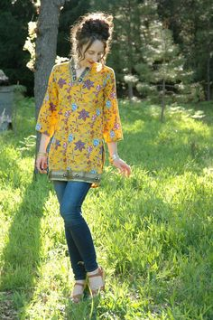 Indian Dress Cotton Gypsy Tunic Dress Mustard by AstralBoutique, $44.00