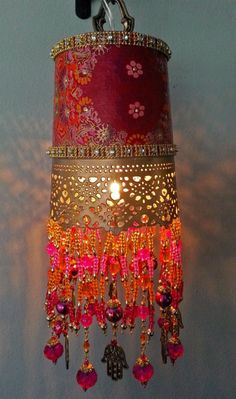 Passage to India Hanging Lantern - Beautiful Bhakti Inspiration boho lampshade IKEA upcycle bead ribbon