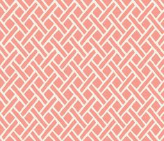 Light Coral Lattice, half scale fabric by willowlanetextiles on Spoonflower - custom fabric
