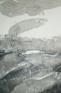 Dessin abstrait gris-Encre de chine et encre blanche 60X80