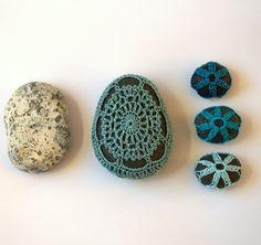 Wedding favor crochet lace stone pebble large Aquamarine by astash, $20.00