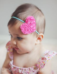 HOT PINK HEART- aqua headband  Valentines Day Headband Newborn Headband, Baby Headband, Baby Girl Headband, Toddler Headband, Women Headband on Etsy, $7.00