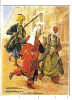 Janissary commanding officers:  1: Yeniçeri Ağası - Commander of the Janissary corps;  2: Orta Kethüda Janissary officer;  3: Haseki Ağası - Commander of the Sultan's infantry guard, XVIII c.