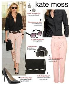 I haven't worn pink pants since grade school, but Kate Moss makes it look cool. Pantalon Rose Pale, Pink Jeans Outfit, Black Button Up Shirt, Button Up Shirts, Light Pink Pants, Pink Trousers, Suede Pants, Cropped Pants, Pink Chinos