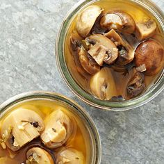 White Balsamic-Rosemary Pickled Mushrooms From Better Homes and Gardens, ideas and improvement projects for your home and garden plus recipes and entertaining ideas. Pickled Beets, Pickled Onions, Pickled Mushrooms Recipe, Antipasto, Canning Pickles, Diy Food Gifts, Fermented Foods, Canning Recipes, Stuffed Mushrooms