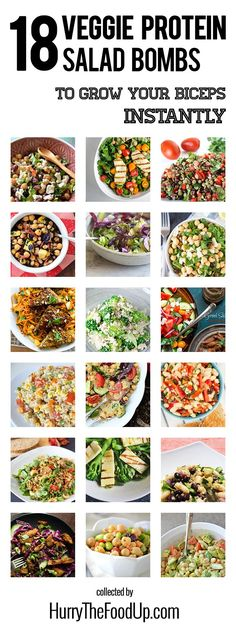 Veggie Protein Salad Bombs to Grow Your Biceps Instantly 18 Vegan and Vegetarian High Protein Vegan and Vegetarian High Protein Salads Veggie Recipes, Whole Food Recipes, Cooking Recipes, Family Recipes, Vegetarian Salad Recipes, Cooking Bread, Cooking Pork, Cleaning Recipes, Healthy Snacks