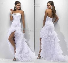 Sexy White Split Side 2014 Sheath Wedding Dresses Strapless Backless Floor Length Bridal Gowns Crystal Pleats Draped Beach Wedding Gown