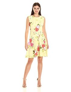 Sandra Darren Women's 1 Pc Extended Shoulder Floral Printed Knit Fit and Flare Dress - Hidden zipper Easy body for all body types