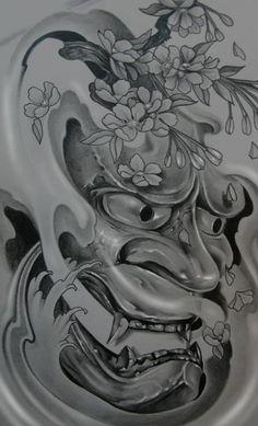 oni mask tattoo   Ch Hannya Oni Tattoo