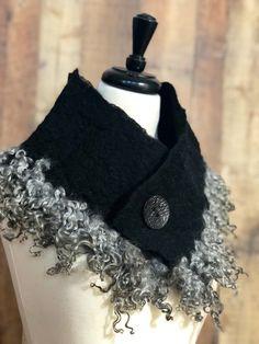 0f4b23d82953 Felt Scarf Gotland Sheep Cowl Collar Organic Neck Warmer Felt Scarf Curly  Locks Lamb Curls Unique Gift for Her Wool Curl Scarf Fur Collar