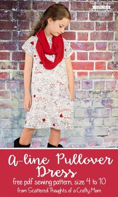 Sewing For Kids Clothes Free pdf sewing pattern for this easy to sew, A-line Pullover Knit Dress for girls, size 4 to - Sewing Projects For Kids, Sewing For Kids, Free Sewing, Sewing Men, Sewing Patterns Girls, Clothing Patterns, Dress Patterns, Coat Patterns, Sewing Kids Clothes