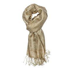 Wheat Jamavar Silk Scarf