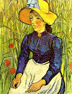 Vincent Van Gogh. Young Peasant Girl in a Straw Hat Sitting in Front of a Wheat Field (1890).