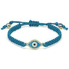 Blue Evil Eye Bracelet / Blue Woven Belt / 5 Colors Available. $7.50, via Etsy.