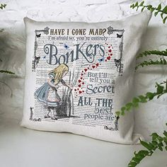 Alice in Wonderland Cushion Pillow Cover - Curtain Illustration Bonkers Alice In Wonderland Artwork, Mad Hatter Tea, Party Props, Fashion Books, Lewis Carroll, Tea Party, Pillow Covers, Etsy Shop, Throw Pillows