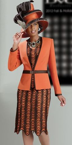 Designer DVC Exclusive Description Orange is one of fashion's most important… Church Attire, Church Dresses, Church Outfits, Church Clothes, Women Church Suits, Suits For Women, Church Fashion, Church Hats, Fashion Outfits