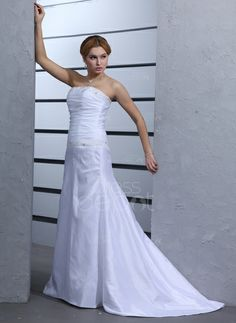 A-Line/Princess Strapless Court Train Taffeta Wedding Dress With Ruffle Beading (002000439) http://www.dressdepot.com/A-Line-Princess-Strapless-Court-Train-Taffeta-Wedding-Dress-With-Ruffle-Beading-002000439-g439 Wedding Dress Wedding Dresses #WeddingDress #WeddingDresses