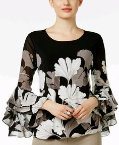 Alfani Ruffled Blouson Top, Only at Macy's – Women – Macy's - moda Blouse Styles, Blouse Designs, Hijab Stile, Casual Tops For Women, Ladies Tops, Blouse And Skirt, Mode Style, Look Fashion, African Fashion