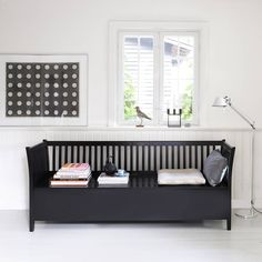Black bench in classic Nordic design. A beautiful piece of furniture with a graphic look. This large bench has a build in storage room under the seat. Scandinavian Benches, Scandinavian Home, Bedroom Furniture, Furniture Design, Front Rooms, Bench With Storage, Modern Kids, Classic Furniture, Kid Beds