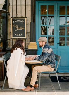 Anniversary couple session Paris by Harriette Earnshaw Photography Waiting for their coffee, in front of a parisian café. Engagement Couple, Engagement Session, Romantic Anniversary, Parisian Cafe, French Lifestyle, Morning Light, Sky High, France Travel, Waiting