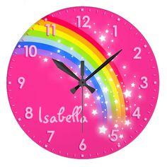 Fun girls kids rainbow name pink clock available here  : http://www.zazzle.com/fun_girls_kids_rainbow_name_pink_clock-256842251254823135?rf=238489066022089310