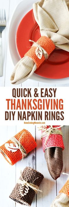 Quick & Easy DIY Thanksgiving Napkin Rings! Frugal craft & only a few supplies needed: paper towel tube, burlap, twine, and wooden leaves. Lovely table decoration for fall dinners or Thanksgiving dinner!
